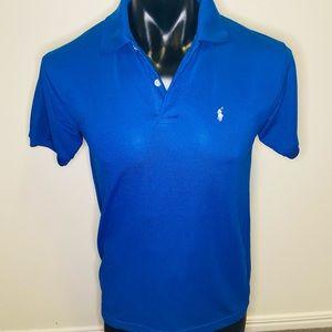 Mens RALPH LAUREN Blue Short Sleeve Cotton Polo